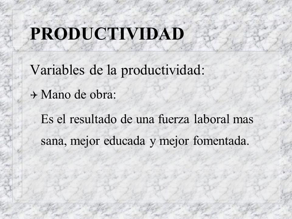 PRODUCTIVIDAD Variables de la productividad: Q Mano de obra: 20 % Q Capital: 16 % Q Administración de Operaciones: 64 % Valores promedio en EEUU en lo