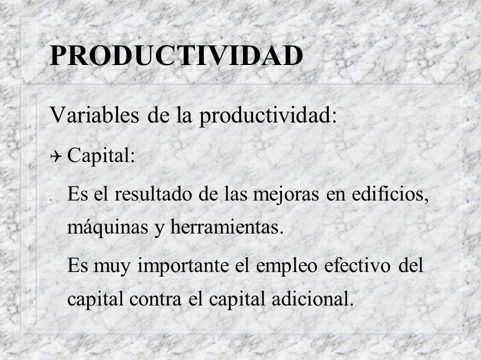 PRODUCTIVIDAD Variables de la productividad: Q Mano de obra: Es el resultado de una fuerza laboral mas sana, mejor educada y mejor fomentada.