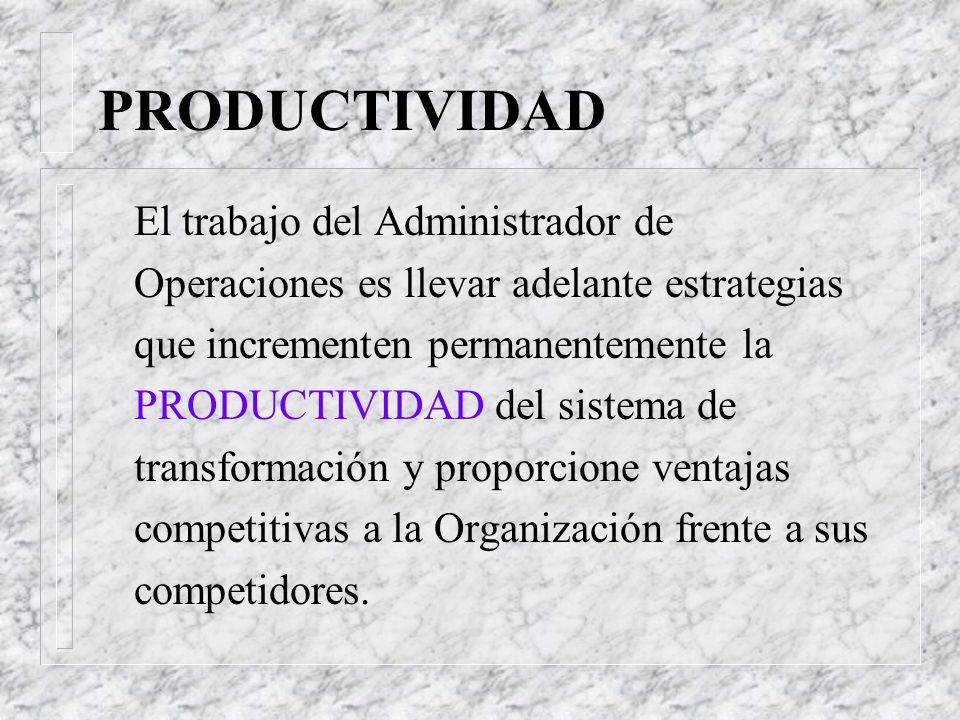PRODUCTIVIDAD Variables de la productividad: Q Administración de Operaciones: Es el resultado de la aplicación de la mejor tecnología y conocimientos