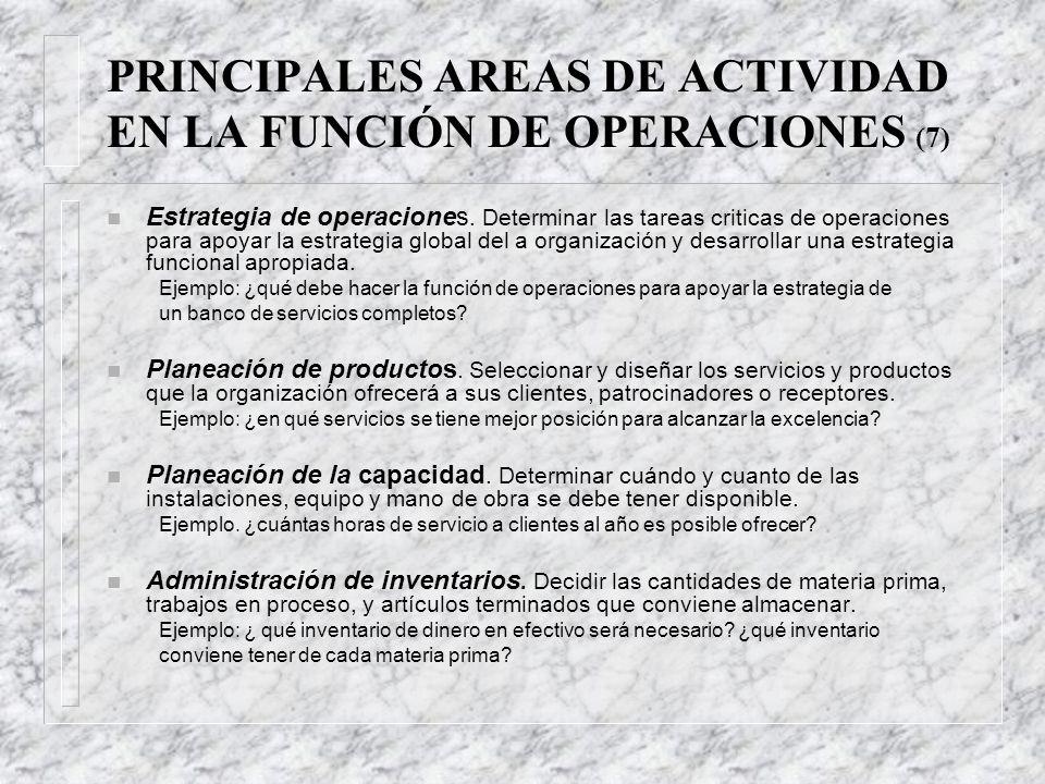 PRINCIPALES AREAS DE ACTIVIDAD EN LA FUNCIÓN DE OPERACIONES (7) n Estrategia de operaciones.