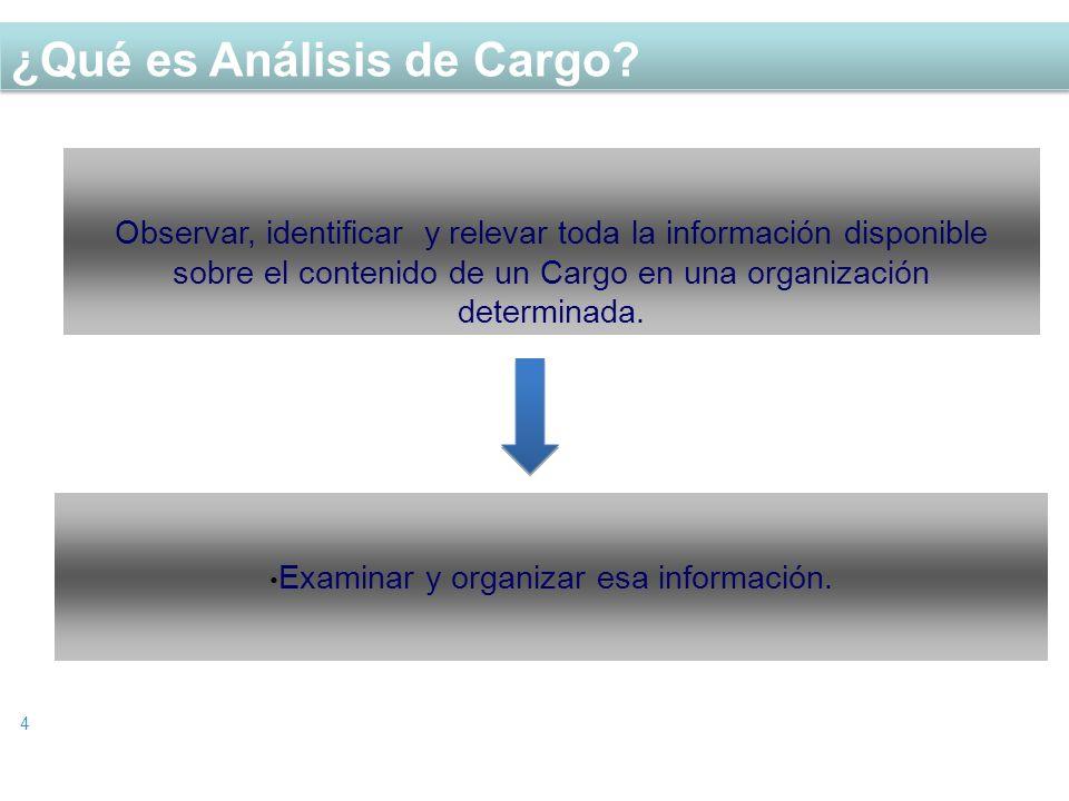 ¿Qué es Análisis de Cargo? 4 Observar, identificar y relevar toda la información disponible sobre el contenido de un Cargo en una organización determi