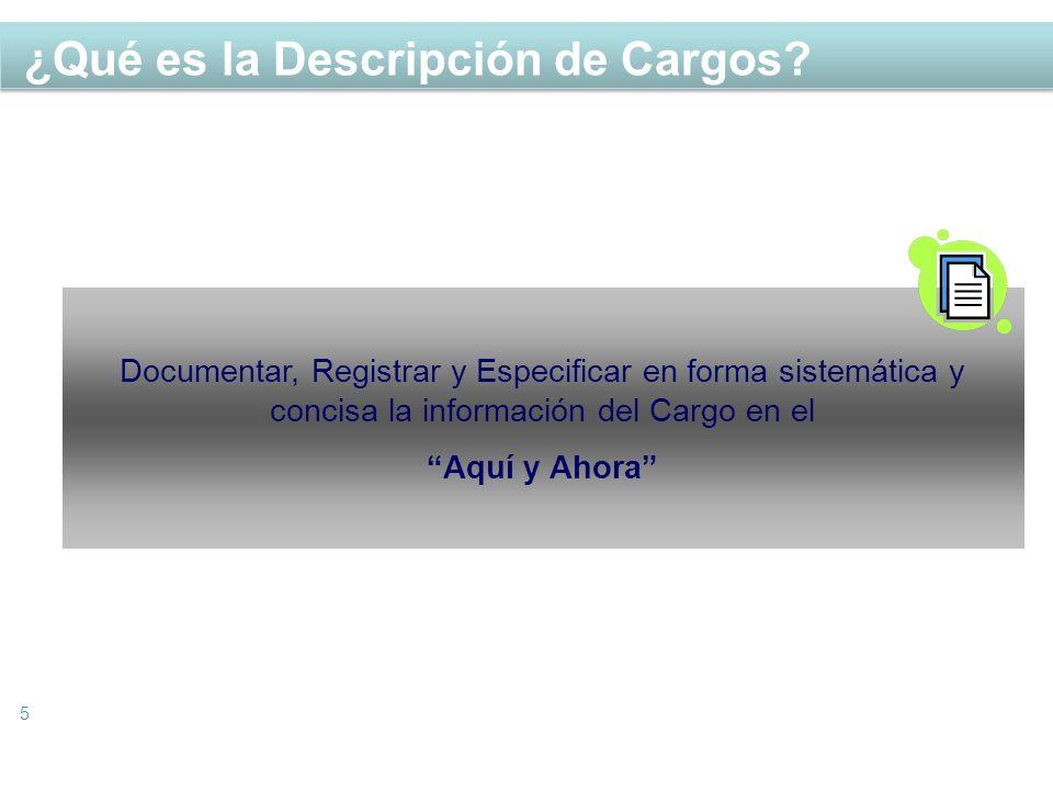 ¿Qué es la Descripción de Cargos? 5 Documentar, Registrar y Especificar en forma sistemática y concisa la información del Cargo en el Aquí y Ahora