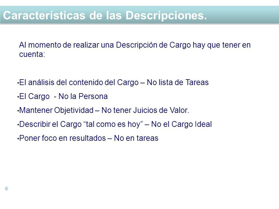 Características de las Descripciones. 6 Al momento de realizar una Descripción de Cargo hay que tener en cuenta: El análisis del contenido del Cargo –