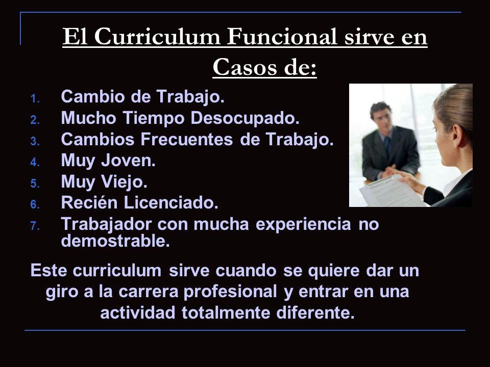 El Curriculum Funcional sirve en Casos de: 1. Cambio de Trabajo. 2. Mucho Tiempo Desocupado. 3. Cambios Frecuentes de Trabajo. 4. Muy Joven. 5. Muy Vi