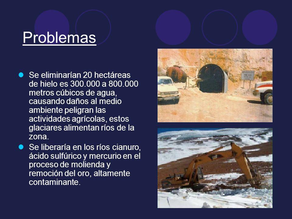 Problemas Se eliminarían 20 hectáreas de hielo es 300.000 a 800.000 metros cúbicos de agua, causando daños al medio ambiente peligran las actividades