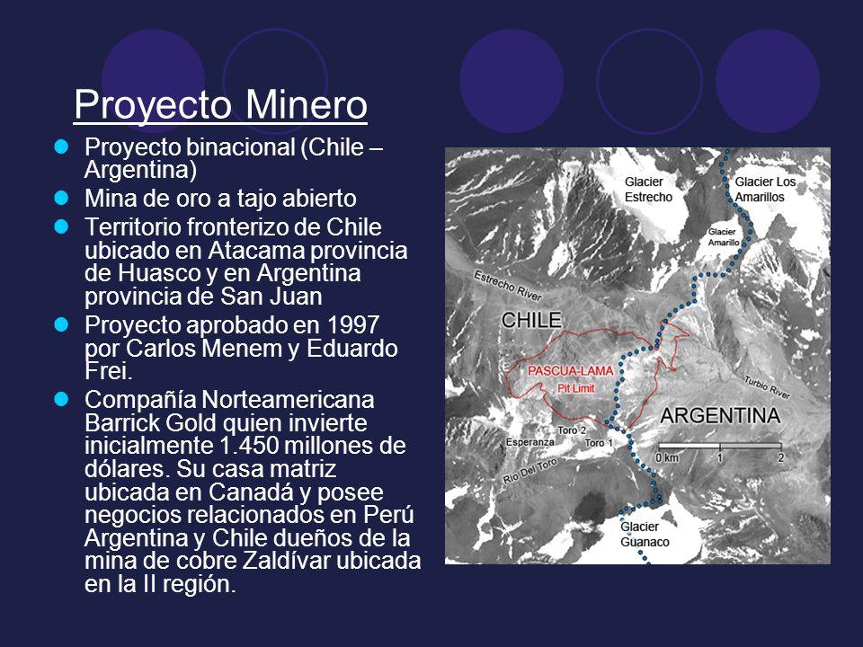 Proyecto Minero Proyecto binacional (Chile – Argentina) Mina de oro a tajo abierto Territorio fronterizo de Chile ubicado en Atacama provincia de Huas