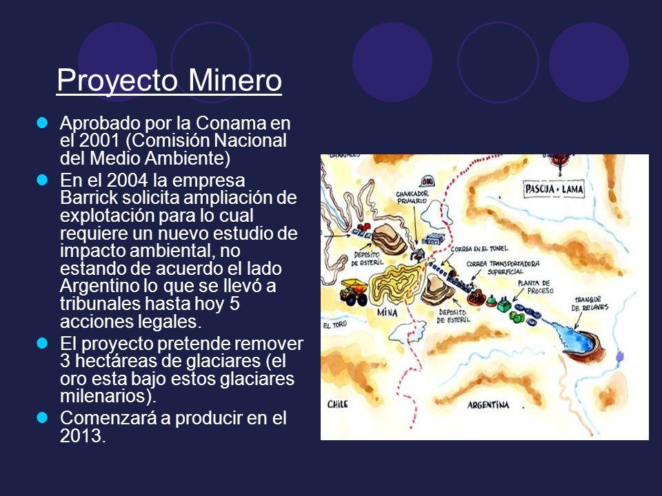Proyecto Minero Aprobado por la Conama en el 2001 (Comisión Nacional del Medio Ambiente) En el 2004 la empresa Barrick solicita ampliación de explotac