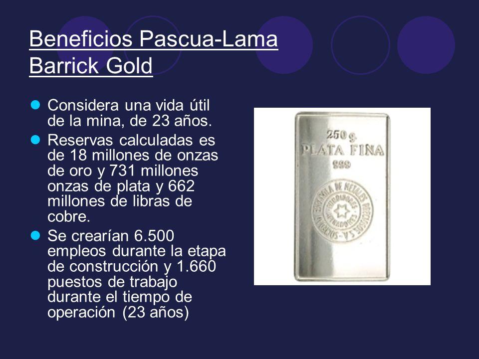 Beneficios Pascua-Lama Barrick Gold Considera una vida útil de la mina, de 23 años. Reservas calculadas es de 18 millones de onzas de oro y 731 millon