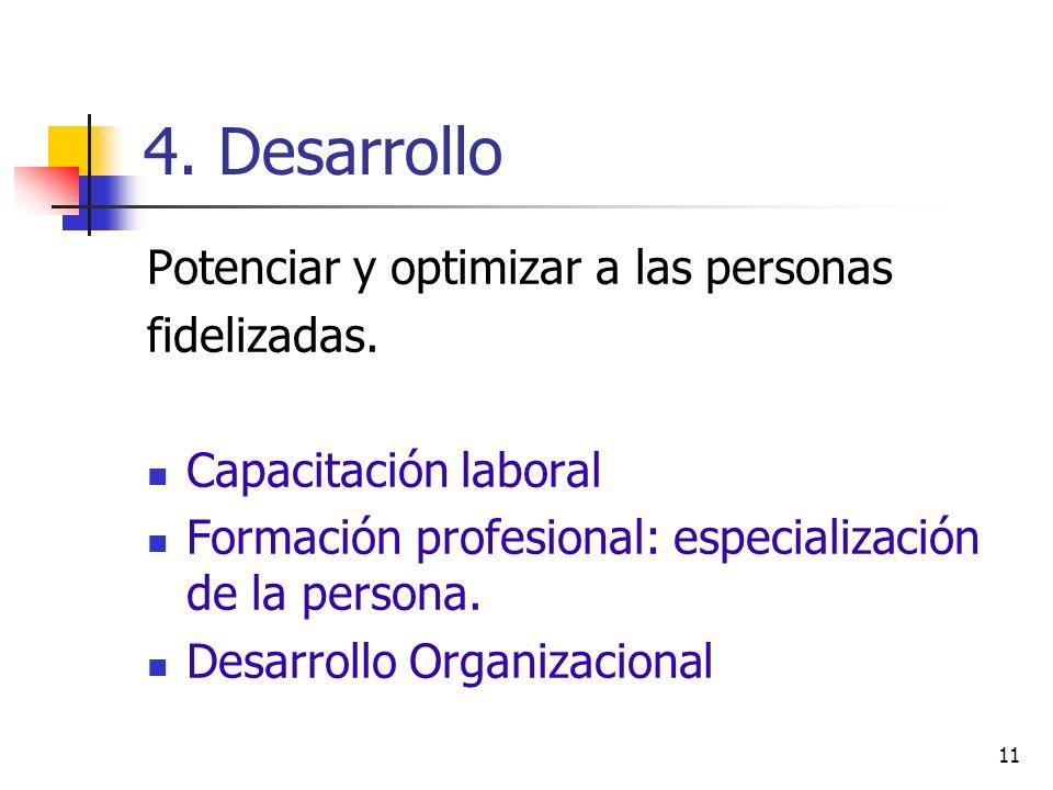 11 4. Desarrollo Potenciar y optimizar a las personas fidelizadas. Capacitación laboral Formación profesional: especialización de la persona. Desarrol