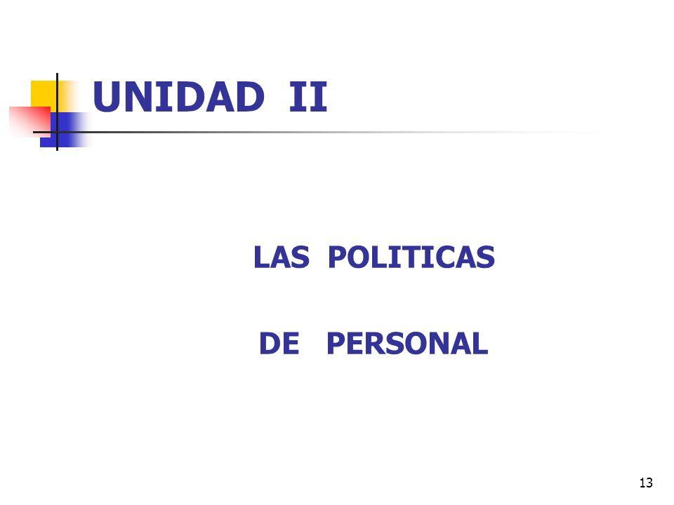 13 UNIDAD II LAS POLITICAS DE PERSONAL
