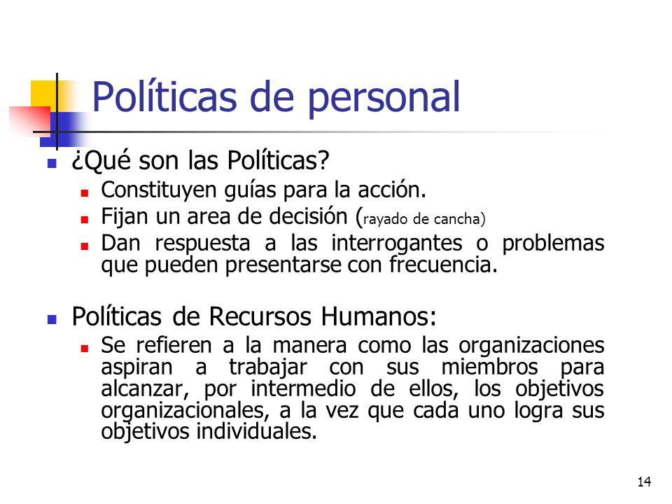 14 Políticas de personal ¿Qué son las Políticas? Constituyen guías para la acción. Fijan un area de decisión ( rayado de cancha) Dan respuesta a las i