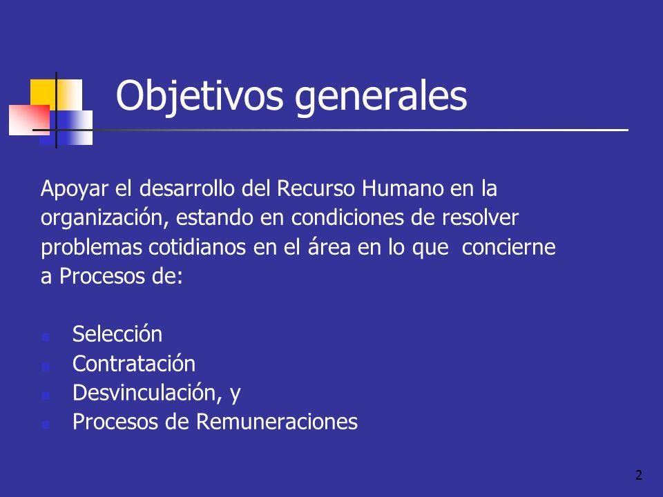 2 Objetivos generales Apoyar el desarrollo del Recurso Humano en la organización, estando en condiciones de resolver problemas cotidianos en el área e