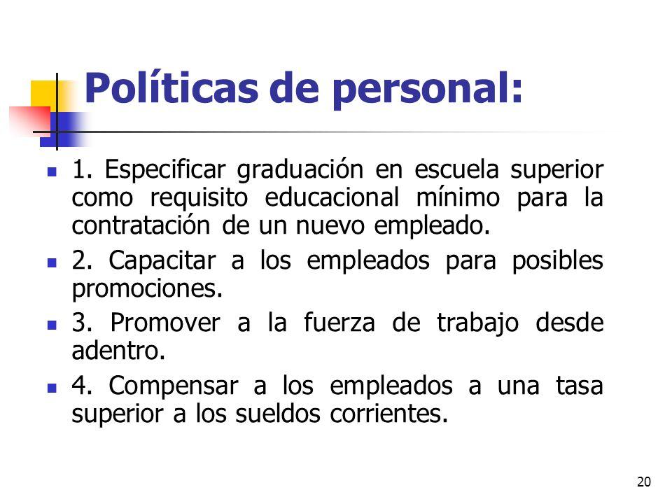 20 Políticas de personal: 1. Especificar graduación en escuela superior como requisito educacional mínimo para la contratación de un nuevo empleado. 2
