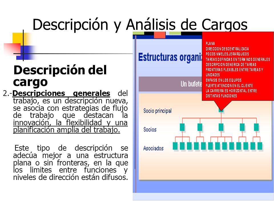 28 Descripción y Análisis de Cargos Descripción del cargo 2.-Descripciones generales del trabajo, es un descripción nueva, se asocia con estrategias d