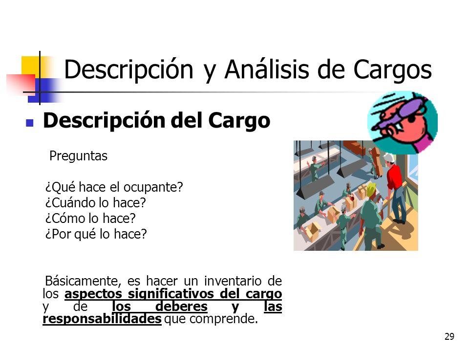 29 Descripción y Análisis de Cargos Descripción del Cargo Preguntas ¿Qué hace el ocupante? ¿Cuándo lo hace? ¿Cómo lo hace? ¿Por qué lo hace? Básicamen