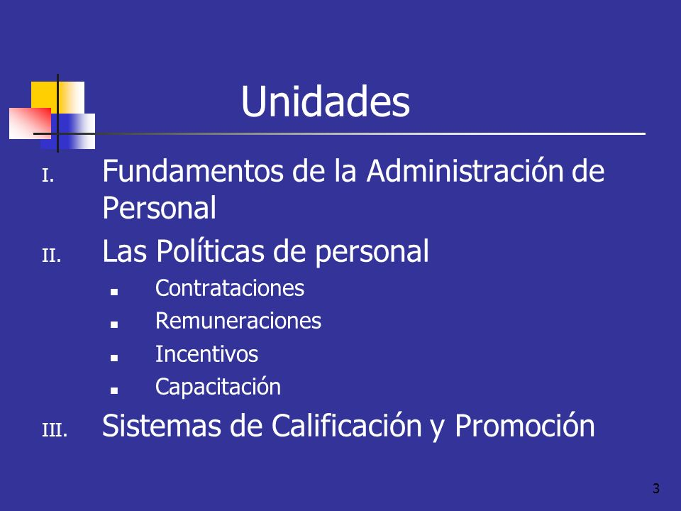 3 Unidades I. Fundamentos de la Administración de Personal II. Las Políticas de personal Contrataciones Remuneraciones Incentivos Capacitación III. Si