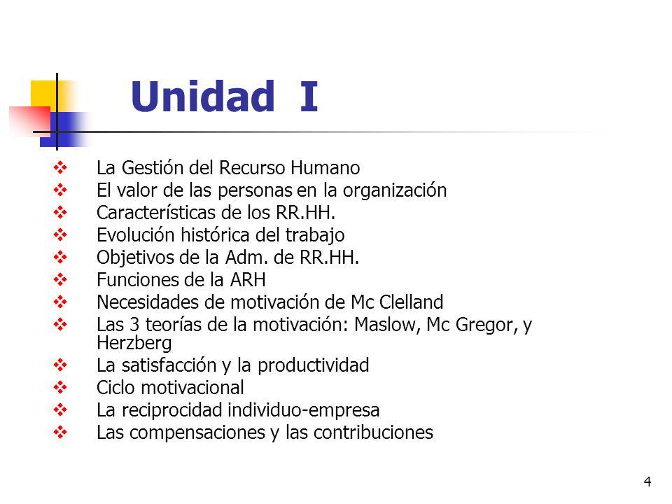 4 Unidad I La Gestión del Recurso Humano El valor de las personas en la organización Características de los RR.HH. Evolución histórica del trabajo Obj