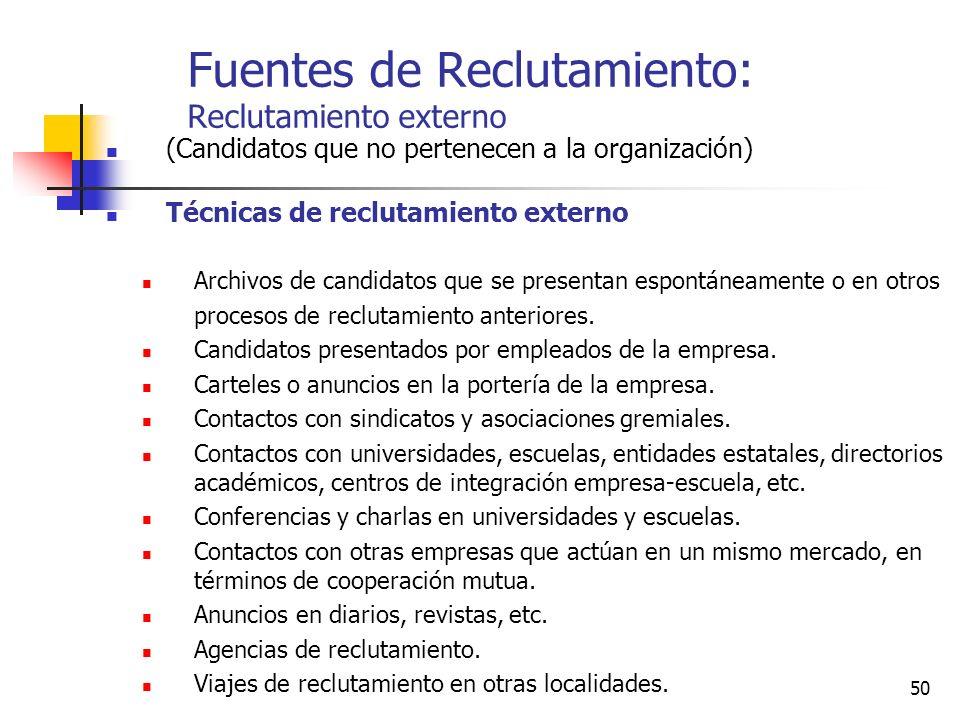 50 Fuentes de Reclutamiento: Reclutamiento externo (Candidatos que no pertenecen a la organización) Técnicas de reclutamiento externo Archivos de cand