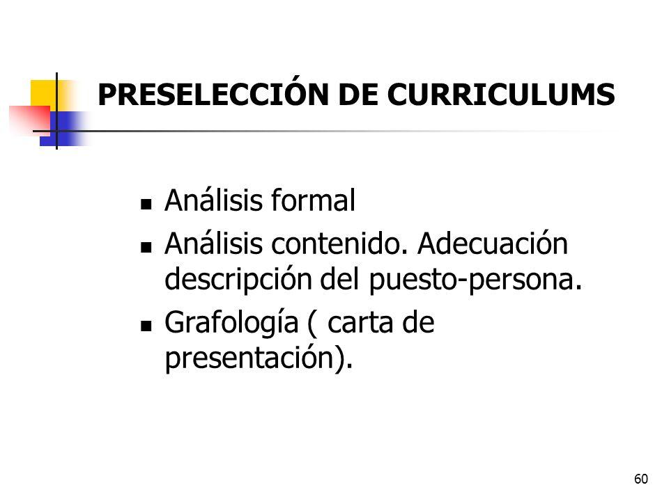 60 Análisis formal Análisis contenido. Adecuación descripción del puesto-persona. Grafología ( carta de presentación). PRESELECCIÓN DE CURRICULUMS