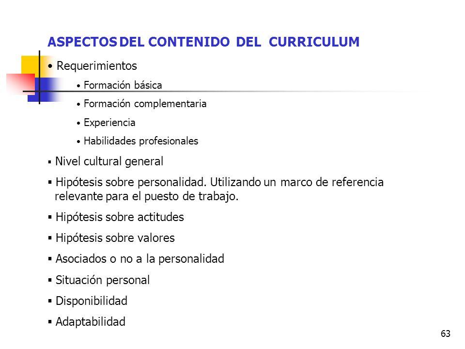 63 ASPECTOS DEL CONTENIDO DEL CURRICULUM Requerimientos Formación básica Formación complementaria Experiencia Habilidades profesionales Nivel cultural