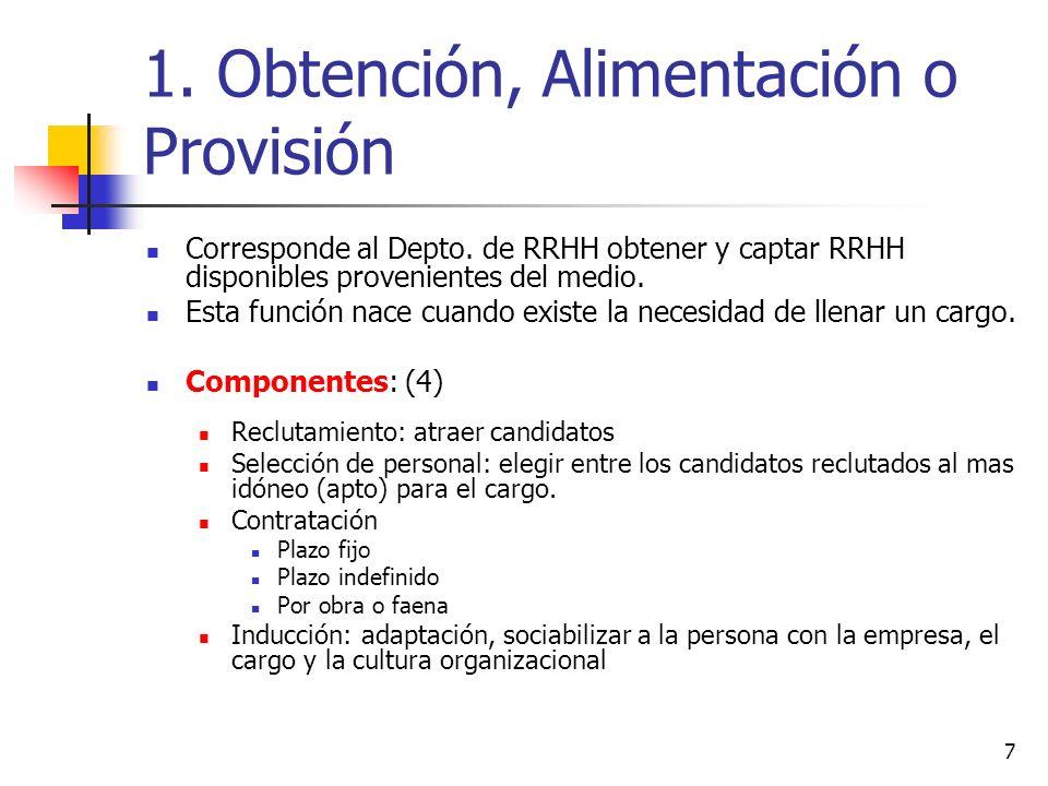 7 1. Obtención, Alimentación o Provisión Corresponde al Depto. de RRHH obtener y captar RRHH disponibles provenientes del medio. Esta función nace cua