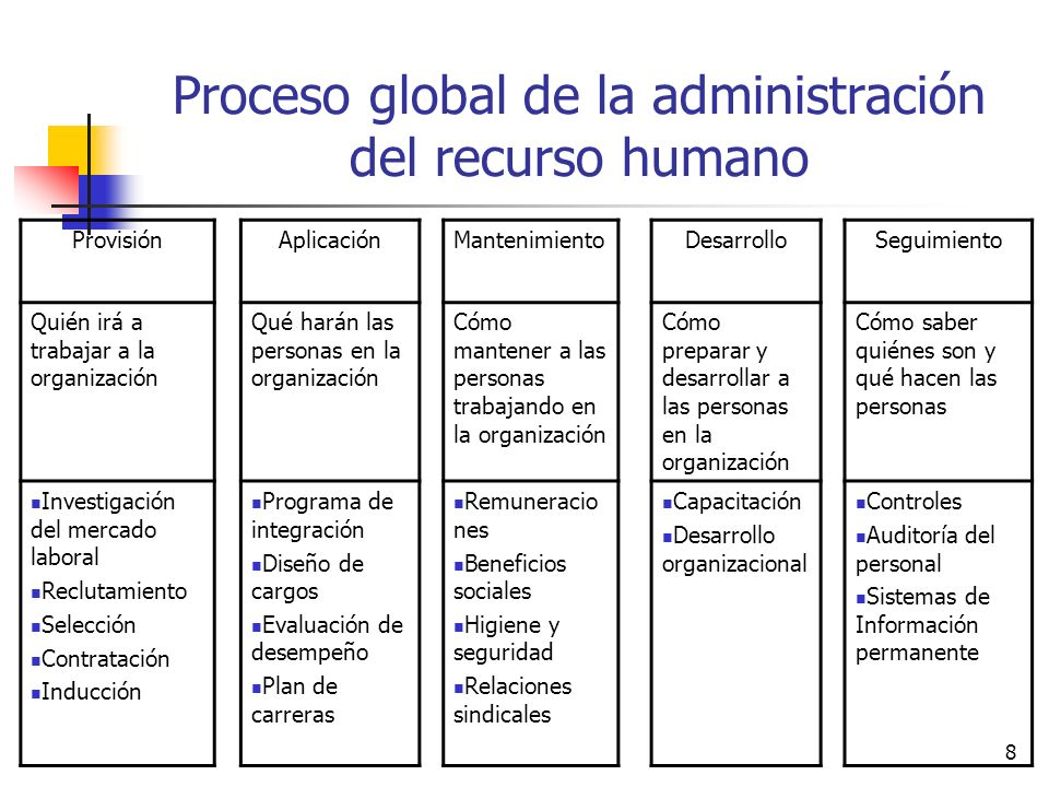 8 Proceso global de la administración del recurso humano ProvisiónAplicaciónMantenimientoDesarrolloSeguimiento Quién irá a trabajar a la organización