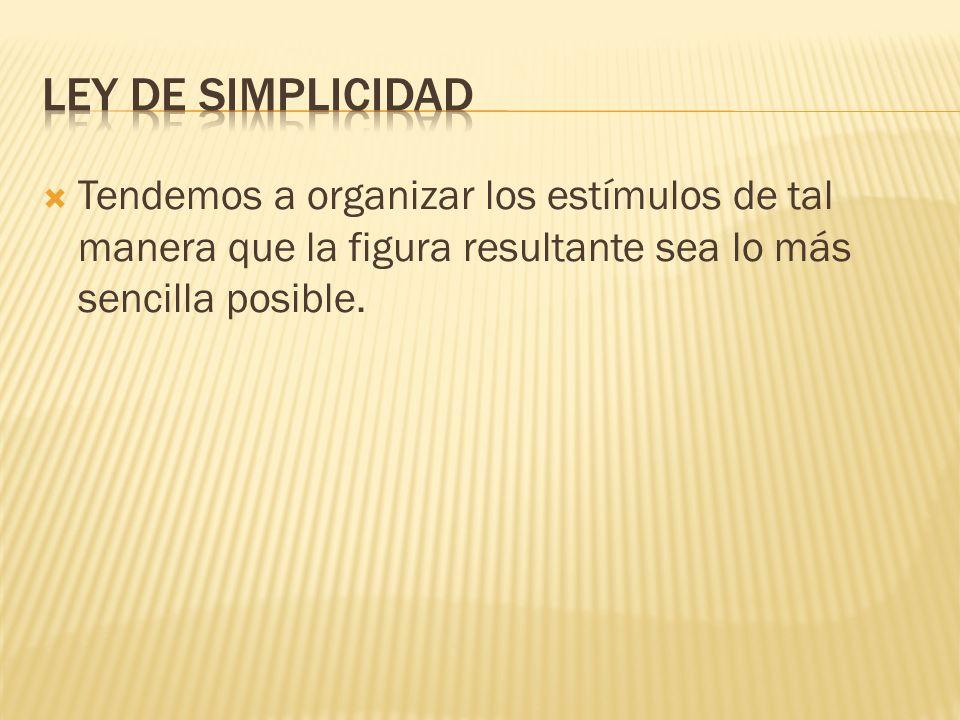Tendemos a organizar los estímulos de tal manera que la figura resultante sea lo más sencilla posible.