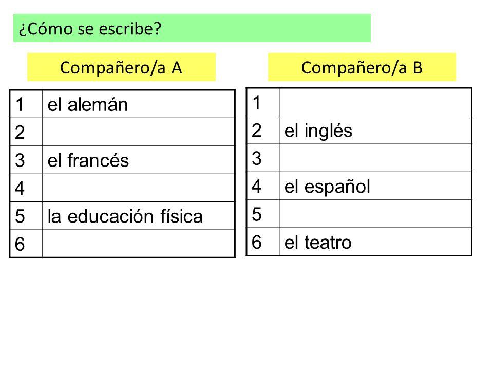 ¿Cómo se escribe? 1el alemán 2 3el francés 4 5la educación física 6 1 2el inglés 3 4el español 5 6el teatro Compañero/a ACompañero/a B