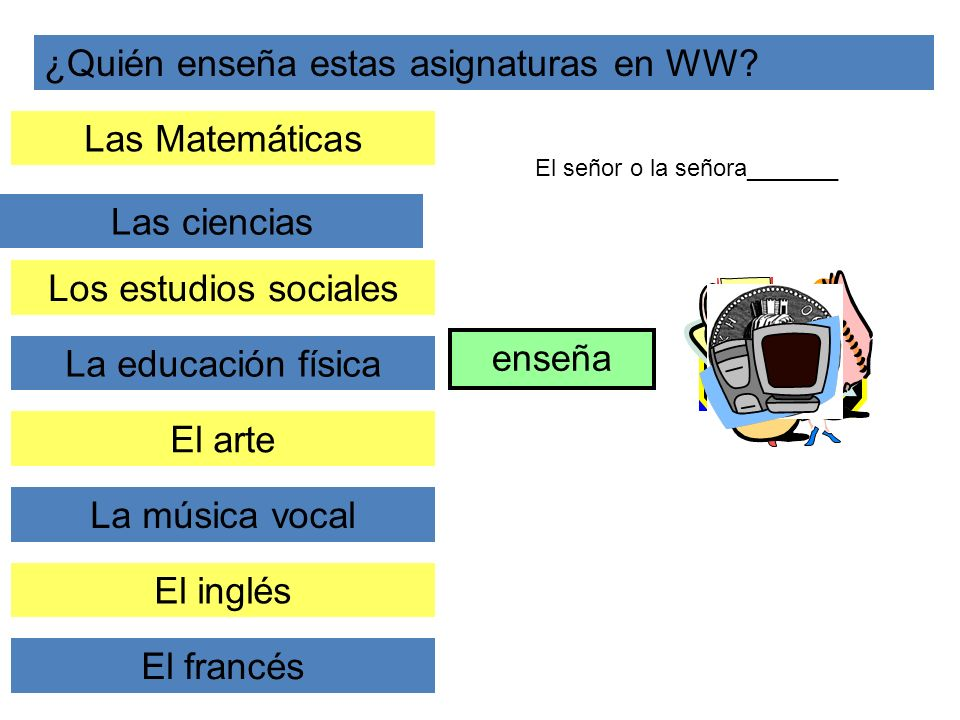 ¿Quién enseña estas asignaturas en WW? Las Matemáticas Las ciencias enseña Los estudios sociales La educación física El arte La música vocal El inglés