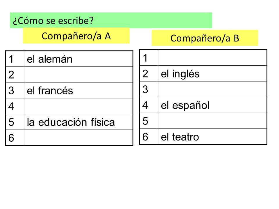 ¿Cómo se escribe? 1el alemán 2 3el francés 4 5la educación física 6 1 2el inglés 3 4el español 5 6el teatro Compañero/a A Compañero/a B