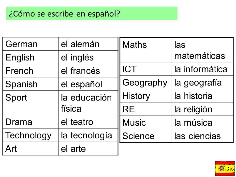 Test de vocabulario IT PE Science Maths Spanish German English Technology Geography French la informática la educación física las ciencias las matemáticas el español el alemán el inglés la tecnología la geografía el francés