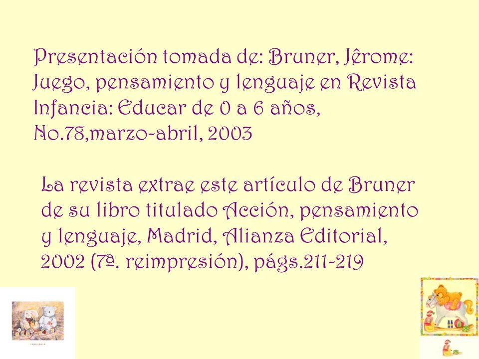 Presentación tomada de: Bruner, Jêrome: Juego, pensamiento y lenguaje en Revista Infancia: Educar de 0 a 6 años, No.78,marzo-abril, 2003 La revista ex