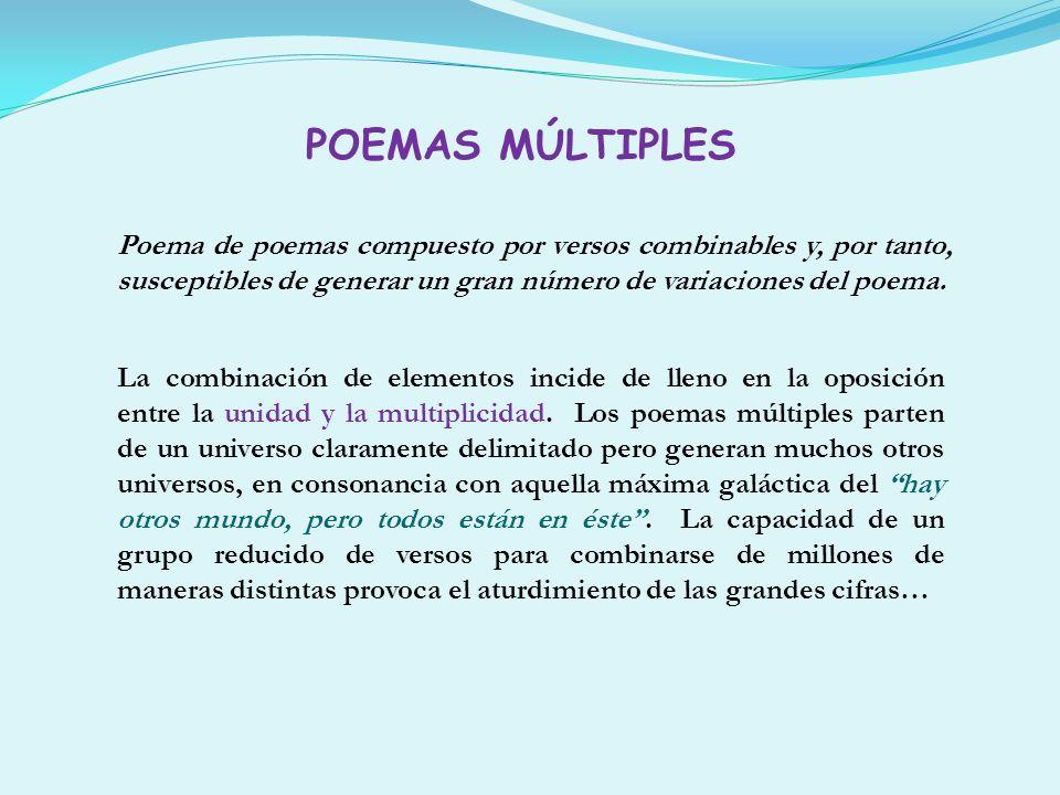 Poema de poemas compuesto por versos combinables y, por tanto, susceptibles de generar un gran número de variaciones del poema. La combinación de elem