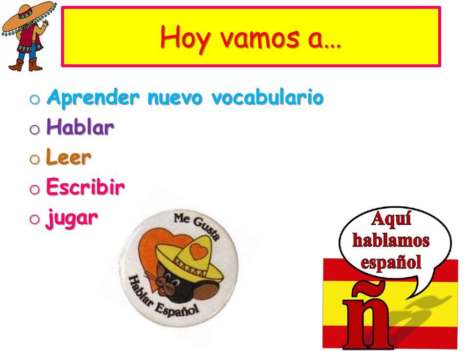 Hoy vamos a… o Aprender nuevo vocabulario o Hablar o Leer o Escribir o jugar