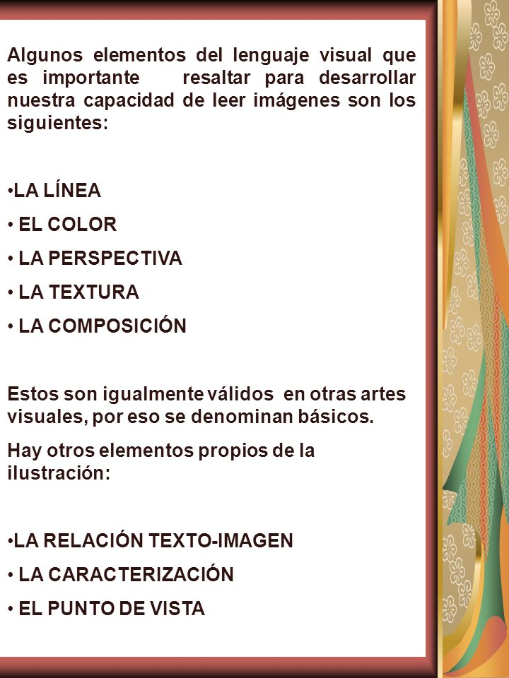 Algunos elementos del lenguaje visual que es importante resaltar para desarrollar nuestra capacidad de leer imágenes son los siguientes: LA LÍNEA EL C
