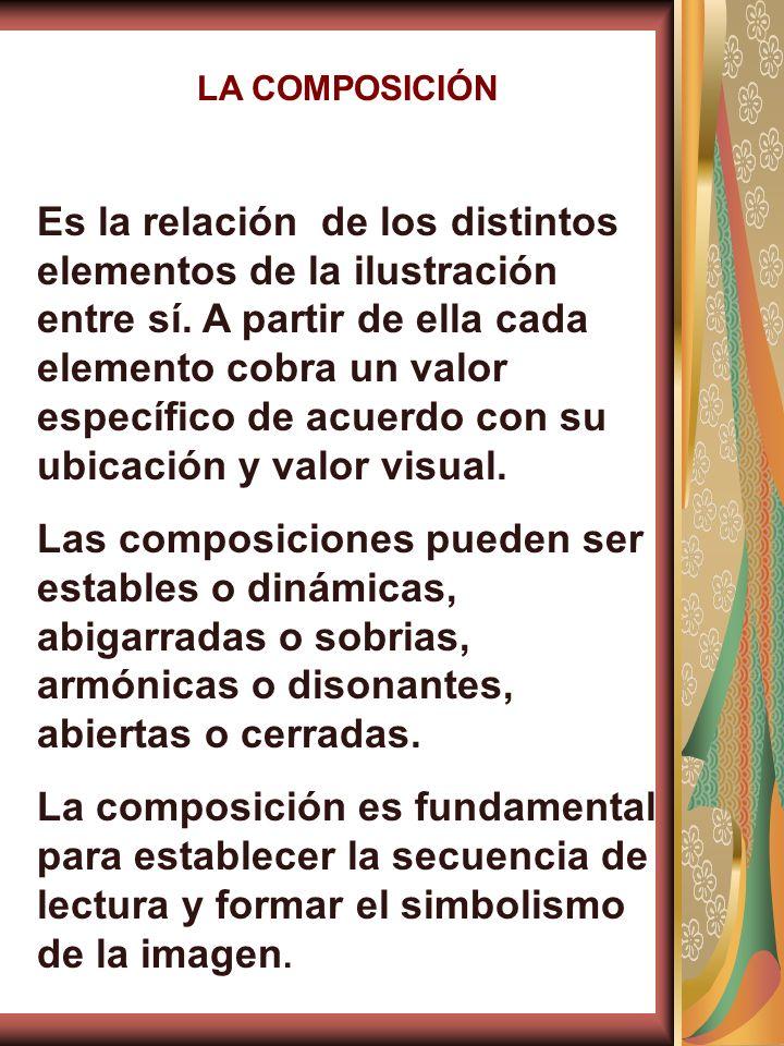 LA COMPOSICIÓN Es la relación de los distintos elementos de la ilustración entre sí. A partir de ella cada elemento cobra un valor específico de acuer