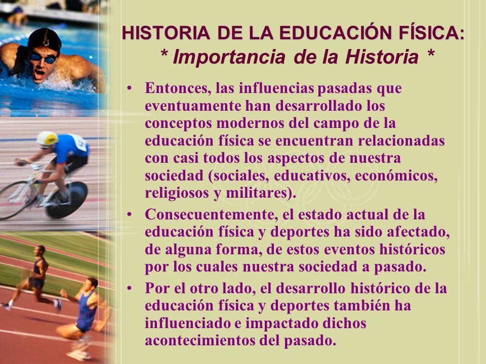 HISTORIA DE LA EDUCACIÓN FÍSICA: HISTORIA DE LA EDUCACIÓN FÍSICA: * Importancia de la Historia * Entonces, las influencias pasadas que eventuamente ha