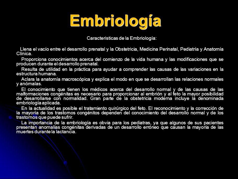 Embriología Caracteristicas de la Embriología: Llena el vacío entre el desarrollo prenatal y la Obstetricia, Medicina Perinatal, Pediatría y Anatomía