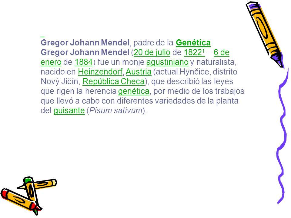 Gregor Johann Mendel, padre de la GenéticaGenética Gregor Johann Mendel (20 de julio de 1822 1 – 6 de enero de 1884) fue un monje agustiniano y natura