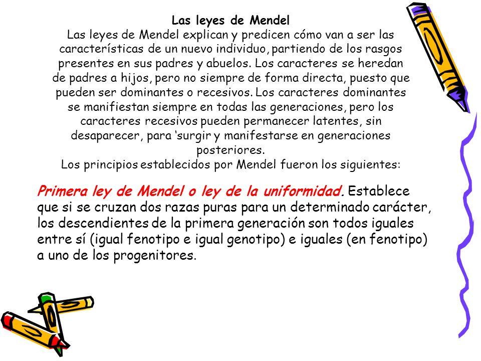 Las leyes de Mendel Las leyes de Mendel explican y predicen cómo van a ser las características de un nuevo individuo, partiendo de los rasgos presente