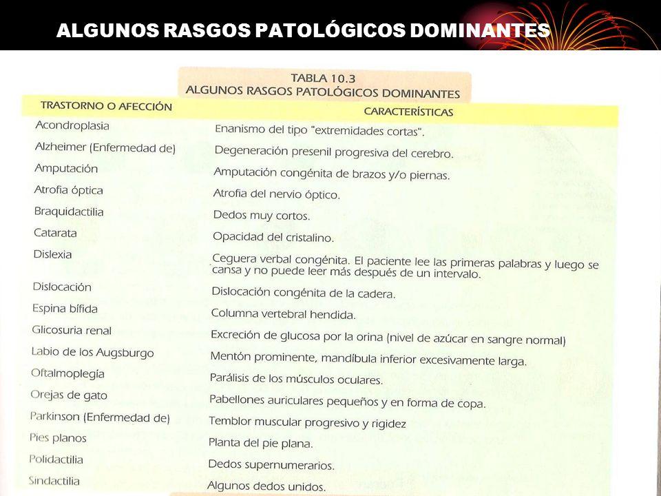 ALGUNOS RASGOS PATOLÓGICOS DOMINANTES