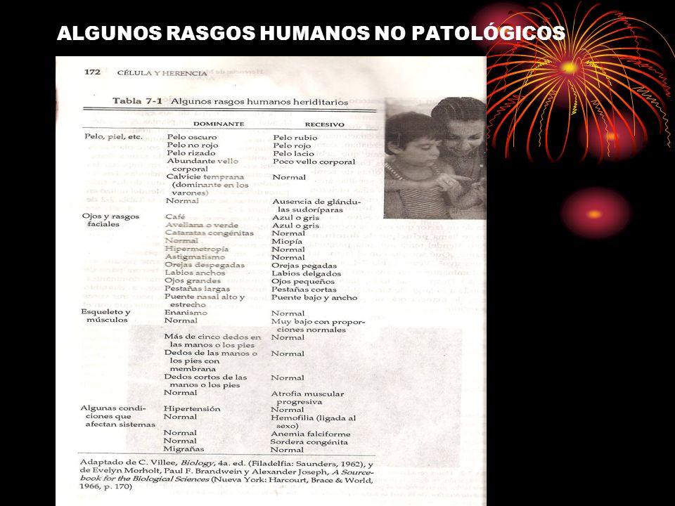 ALGUNOS RASGOS HUMANOS NO PATOLÓGICOS