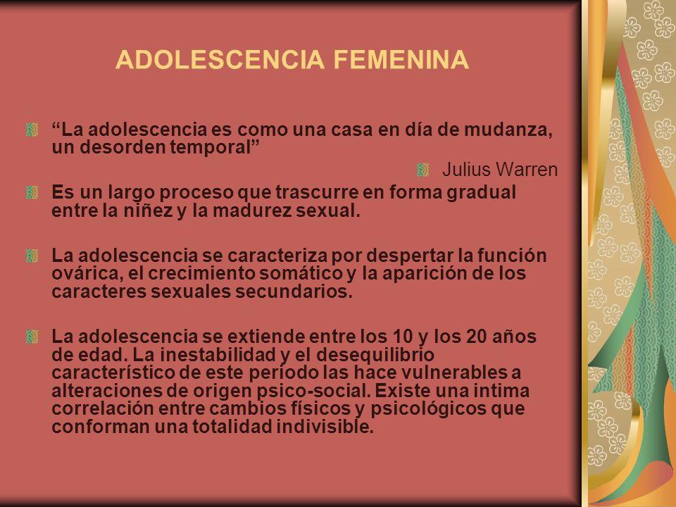ADOLESCENCIA FEMENINA La adolescencia es como una casa en día de mudanza, un desorden temporal Julius Warren Es un largo proceso que trascurre en form