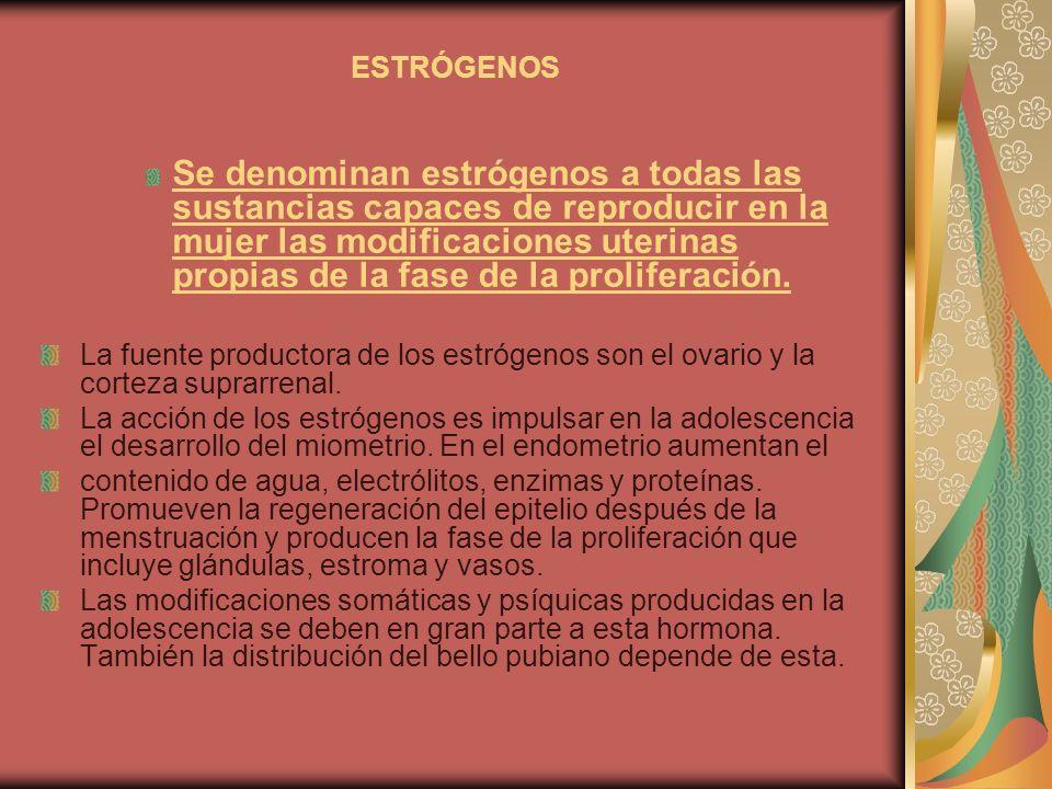 ESTRÓGENOS Se denominan estrógenos a todas las sustancias capaces de reproducir en la mujer las modificaciones uterinas propias de la fase de la proli