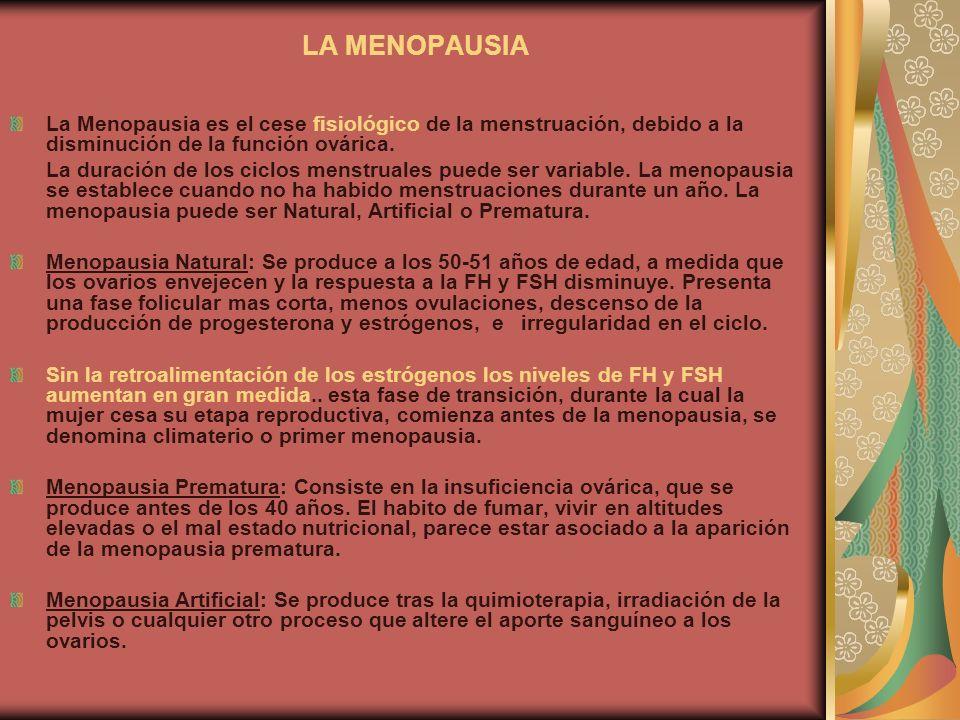 LA MENOPAUSIA La Menopausia es el cese fisiológico de la menstruación, debido a la disminución de la función ovárica. La duración de los ciclos menstr