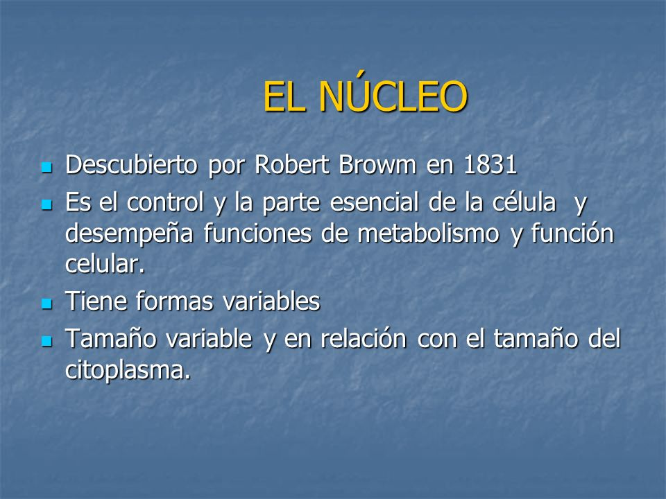 EL NÚCLEO Descubierto por Robert Browm en 1831 Descubierto por Robert Browm en 1831 Es el control y la parte esencial de la célula y desempeña funcion