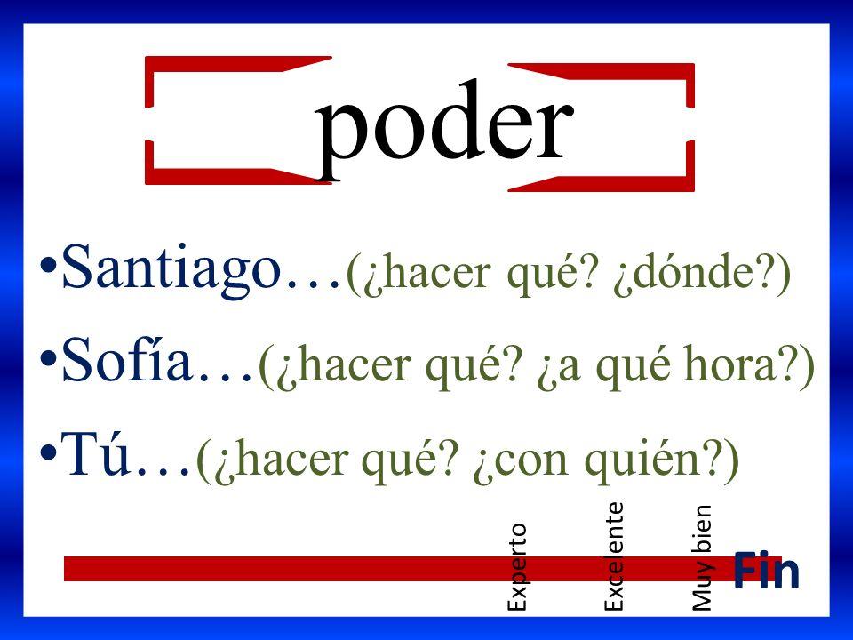 Santiago… (¿hacer qué? ¿dónde?) Sofía… (¿hacer qué? ¿a qué hora?) Tú… (¿hacer qué? ¿con quién?) Fin poder ExpertoExcelenteMuy bien