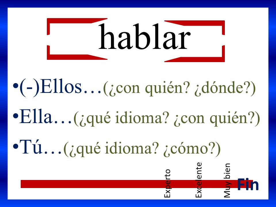 hablar (-)Ellos… (¿con quién? ¿dónde?) Ella… (¿qué idioma? ¿con quién?) Tú… (¿qué idioma? ¿cómo?) Fin ExpertoExcelenteMuy bien