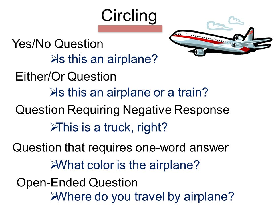 Circling Yes/No Question Either/Or Question Question Requiring Negative Response Is this an airplane.