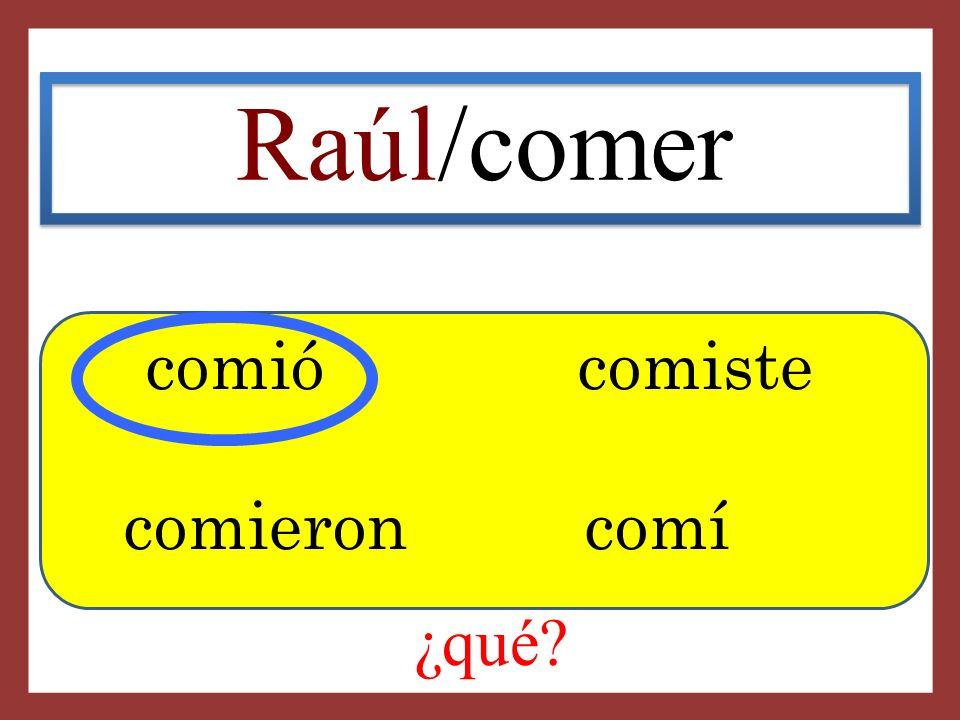 Raúl/comer comió comiste comieron comí ¿qué?